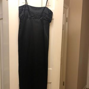 A formal black dress, strapless and floor length!!